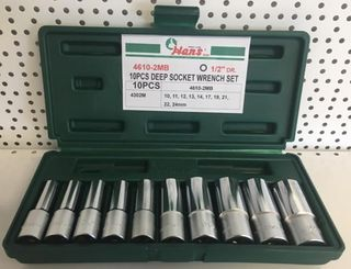 10-24mm 10Pce 1/2' Dr. 12Pt DEEP Metric  Socket Set ABS Case - Hans