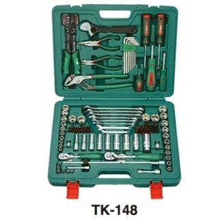 4-10mm 1/4'' Drive & 9-24mm & 3/8' - 7/8'  3/8' Drive Standard  Plus 8-19mm 3/8'Drive Deep Sockets 148 piece Universal Tool Kit ABS Case - Hans