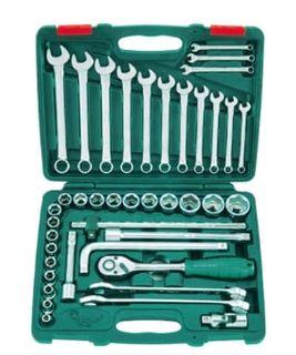 "8-32mm 1/2"" Dr. 42pce Skt Set c/w 6-24mm R&OE Spanners + Access. ABS Green Case - Hans"