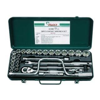 8-32mm 1/2' Dr. 30pce 12Pt Socket Set  Green Metal Case - Hans