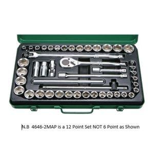 8-32mm & 3/8'-1-1/4'  1/2'Dr. 46pce 12Pt Socket Set Green Metal Case - Hans