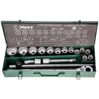 "19-50mm 3/4""Dr. 17pce 12Pt Metric Socket Set- Green Metal Case - Hans"