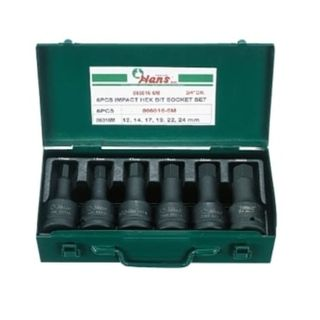 "12-24mm  6pce 3/4"" Dr. Hex Bit Socket Set in Metal Case - Hans"
