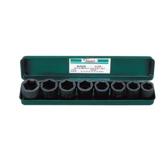 26-28mm 8Pce 3/4' Dr. IMPACT Socet Set Metal Case - Hans