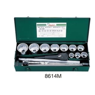 """36-80mm 1"""" Dr. 10pce 12Pt Std Socket Set - Metal Case - Hans"""