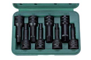 "6mm - 19mm x 1/2"" Dr 8 pc Hex Impact Bit Socket Set in ABS Case - Hans Tools"