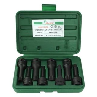 "6mm - 18mm x 1/2"" Dr XZN Impact Bit 8 pc Socket Set - Hans Tools"