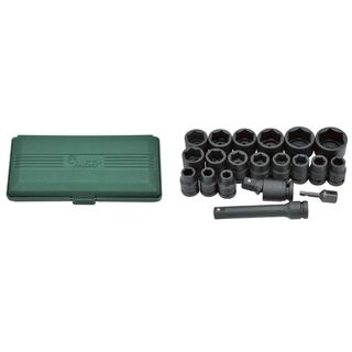 """10mm - 32mm 1/2"""" Dr. Std & Deep 20 pc Impact Socket Set  in ABS Case - Hans Tools"""