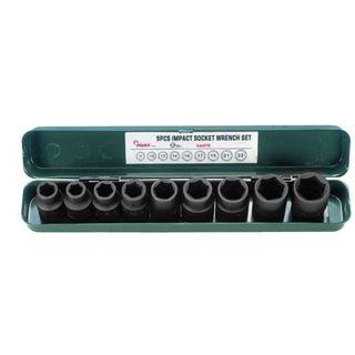 """3/8"""" - 15/16"""" 1/2"""" Dr.10 pce IMPACT Socket Set -  Metal Case - Hans"""