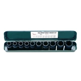 """10 - 24mm 1/2"""" Dr.10 pce IMPACT Socket Set -  Metal Case - Hans"""