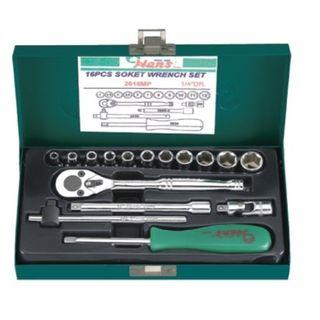 """1/4"""" Dr. 16pce 4-12mm 6Pt Socket Set - Metal Case W/2120P - Hans"""