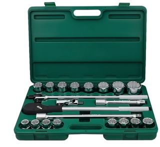 19-50mm 21pce 3/4' Dr.12Pt Socket Set in ABS Case - Hans