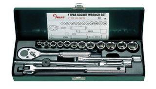 "8-22mm 3/8"" Drive 17 piece 12 Pt Socket Set Metal Case Green - Hans"