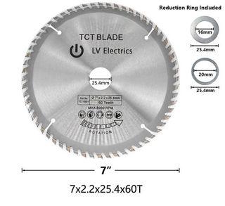 180 x 2.2mm x 60 tpi TCT HSS Circular Saw Blades -  Bore  25.4mm