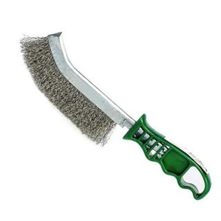Spid Wire Curved Brush - Stainless -Green Handle