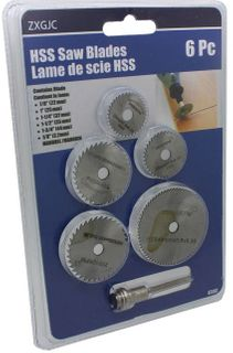 6pc 22-44mm HSS Mini Circular Saw Blades c/w 1/8' Mandrel