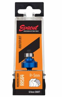 R5 Rounding Over Router Bit 5mm Radius x  11mm Cutter Height x 6.4mm Shank - Evacut