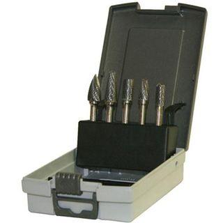 5pce 13mm Head x 6mm Shank  Carbide Burr Set - Plastic Case