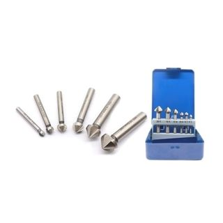 6pc 6.3 - 20.5mm x 90deg HiCut HSS 3Flute C/Sink Set- Blue Metal Case