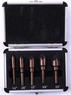 82 Deg 5PC 1/4' 3/8' 1/2' 5/8' 3/4' HSS Multi Flute  C/Sink Set  c/w Aluminum Case