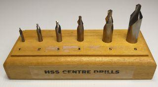 #1-#6 HSS Centre Drill Set in Wooden Block