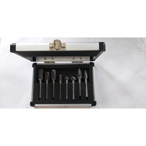 8 piece 6-12mm Double Cut Head x 6mm Shank Carbide Burr Set Aluminium Case