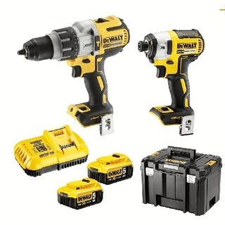 18V 5.0Ah XR Li-Ion Brushless Cordless 2pce Drill/Driver Combo Kit (Both Tools 3 Speed) (Fast Charger) - DeWALT