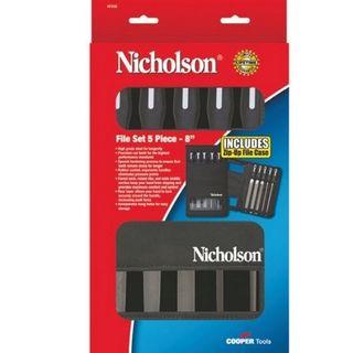 "8"" 5 piece second Cut File Set complete with Handles - Nicholson"