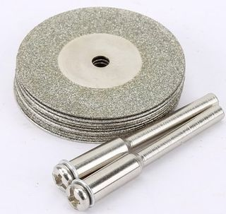10pcs  35mm x 0.50 Diamond Disc c/w 2x Mandrels -  3mm Shk - DTD