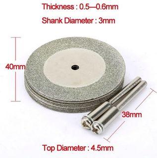 10pcs  40mm x 0.50 Diamond Disc c/w 2x Mandrels -  3mm Shk - DTD