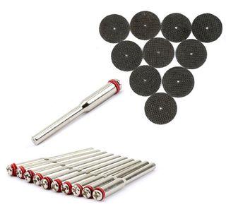 10Pcs 32mm Resin Fibre Cutting Disc Cut Off Wheel Discs +10Pcs 2.35mm Mandrels Wheel Holder for Rotary Tool Dremel Accessories