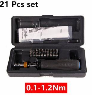 """1/4"""" Dr. 0.1 - 1.2 Nm Torque Screwdriver Short ABS Case c/w 20 Bit Asst - DTD"""
