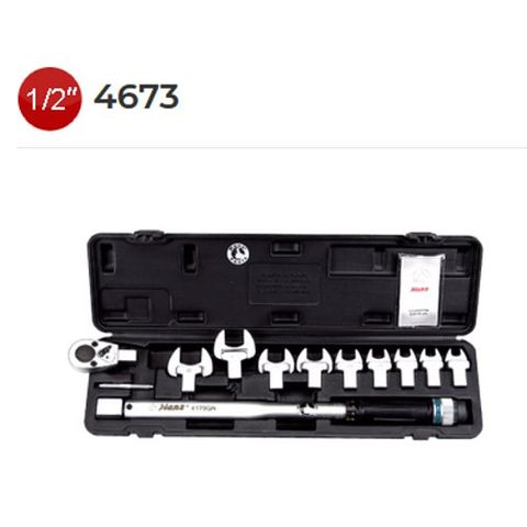 """20-210 Nm x 1/2 """" Drive 11 Pieces Re - Changeable Open End Head 13 - 30mm Torque Wrench Set - Hans"""