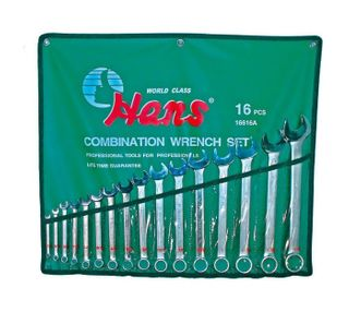 1/4' - 1-1/4' 16 Pce Combination Wrench Set in Wallet - Hans