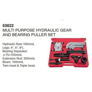 """16T Hydraulic Gear & Bearing Puller Set complete with 4,6 & 8"""" Jaws - Green  Blow Mold Case - Hans"""