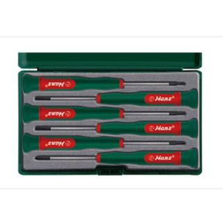 6 Pcs Precision Screwdriver Set in ABS Green Case  - Hans