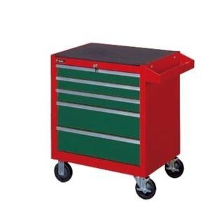 5 - Drawer Red/Green Roll Cab. Wagon 670mm W x 460mm D x770H - Empty - Hans