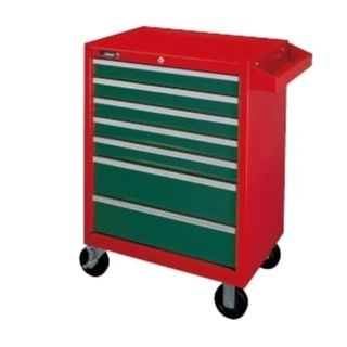 7 - Drawer Red/Green Rolll Cab. Wagon 670mm W x 460mm D x 943H - Empty - Hans