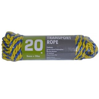 8mm x 20Metre Twisted Rope - Blue/Yellow - Xcel