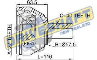 CVJ AVW VOL FRD V70 XC90 MONDEO 40/56.5/27