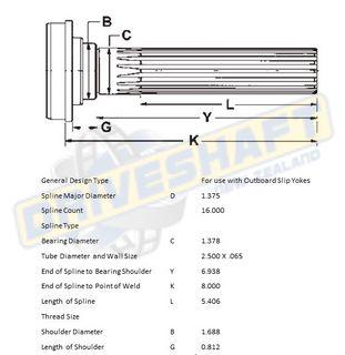 MS/S 1.375 X 16 SPL 2.500 X .065 (35MM BEARING)
