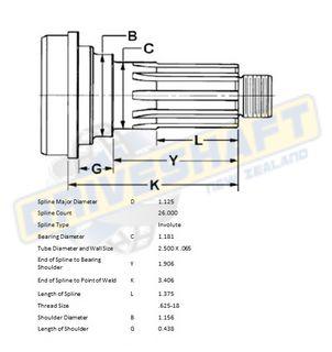 MS/S 1.125 X 26 SPLINE 2.500 X .065 (30MM BEARING)