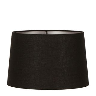 XL Drum Lamp Shade (18x16x10.5 H) - Black with Silver Lining - Linen Lamp Shade with E27 Fixture