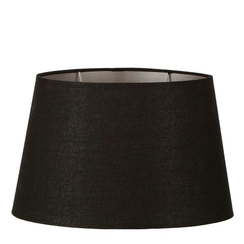 XXL Oval Lamp Shade (20x12 x 16x10 x12 H ) - Black with Silver Lining - Linen Lamp Shade with E27 Fixture
