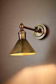 Mayfair Wall Light with Metal Shade Antique Brass