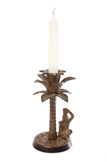 Palm Tree Candle Holder Brown