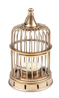 Cage Tea Light Antique Brass