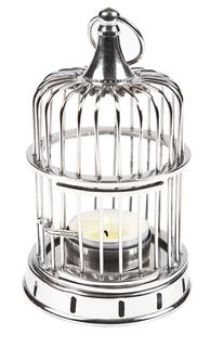 Cage Tea Light Shiny Nickel