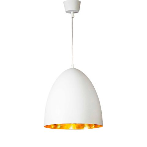 Egg Ceiling Lamp White Brass