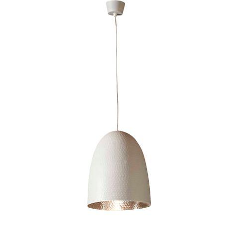 Dolce Beaten Wht Silver Hanging Lamp